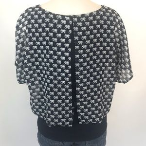 CAbi Tops - Cabi size S elephant print navy double layer top